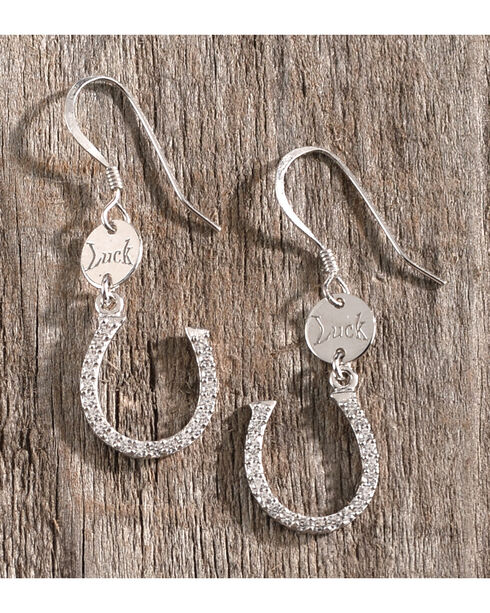 Montana Silversmiths Women's Silver Lucky Horseshoe Earrings , Silver, hi-res