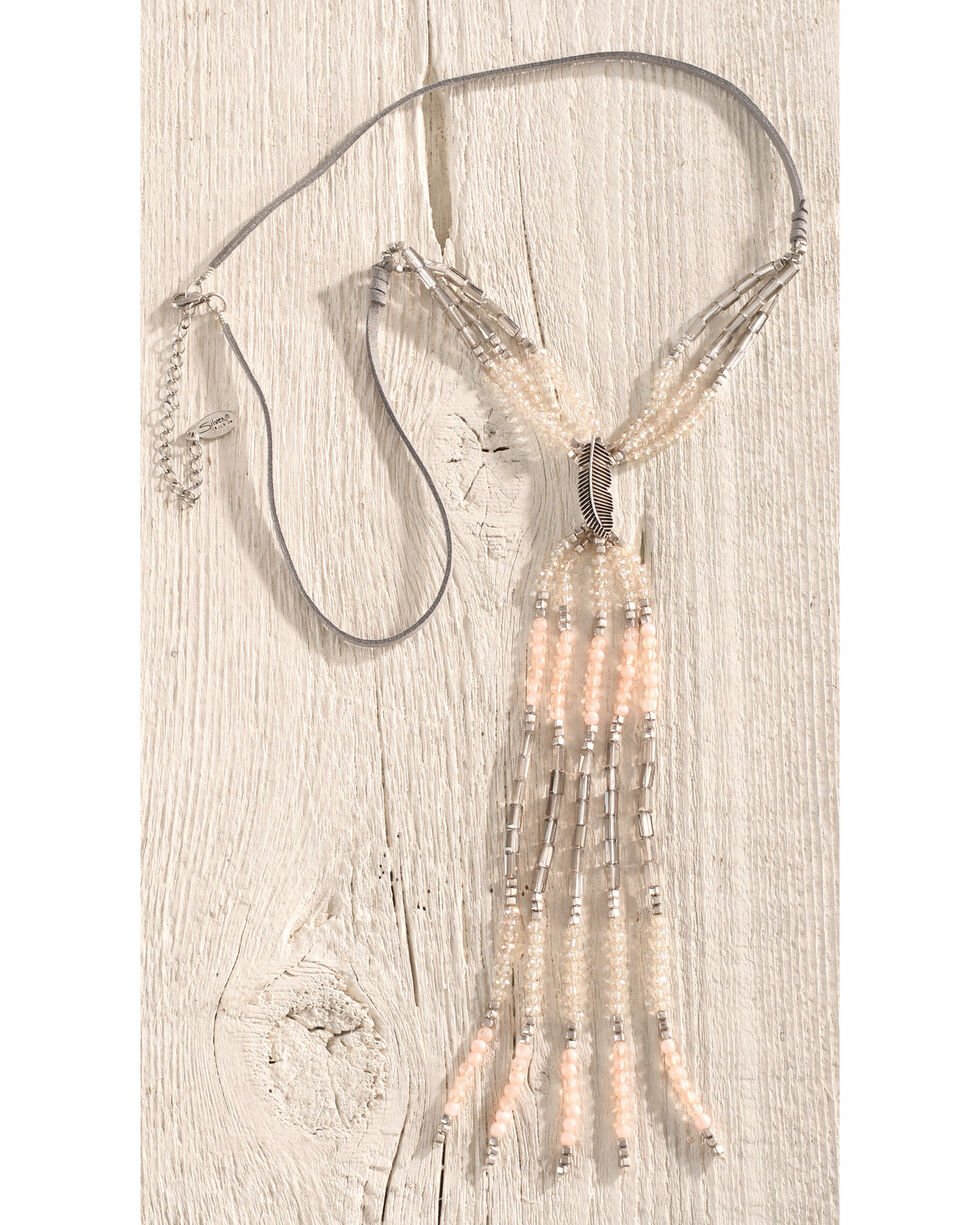 Silver Jeans Women's Beaded Feather Y-Necklace, Silver, hi-res
