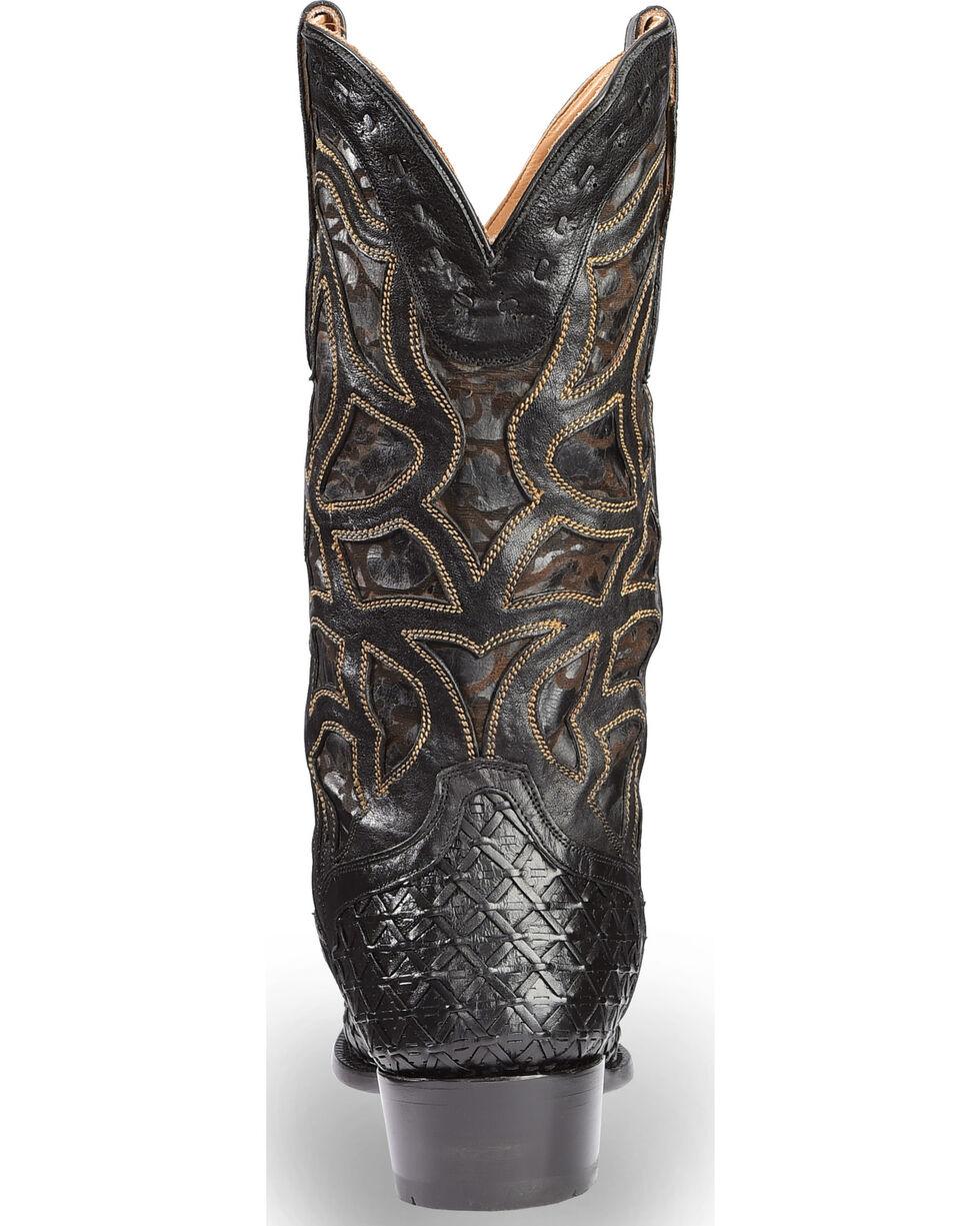 El Dorado Men's Handmade Basket Weave Black Cowboy Boots – Snip Toe , Chocolate, hi-res