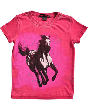 Rock & Roll Cowgirl Girls' Pink Running Horse Tee , Pink, hi-res