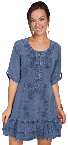 Scully Sweetheart Lace Up Back Dress, Dark Blue, hi-res