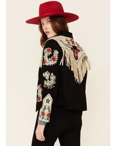 Double D Ranch Women's Cowgirl Queen Zip-Front Suede Jacket , Black, hi-res