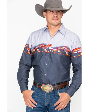 Roper Men's Border Print Snap Long Sleeve Western Shirt , Blue, hi-res