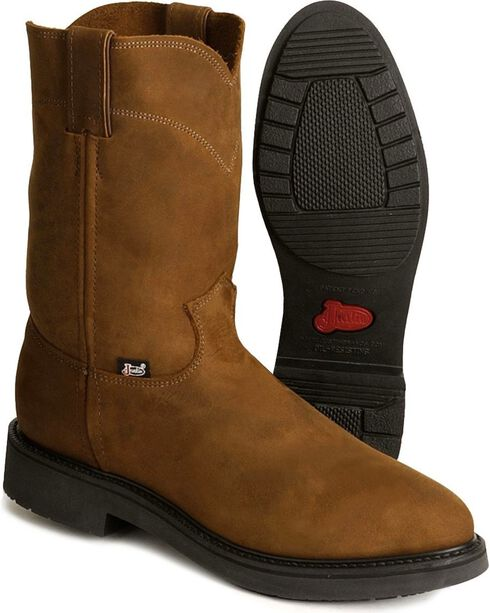 Justin Original Work Boots Pull-On Boots - Round Toe, Brown, hi-res