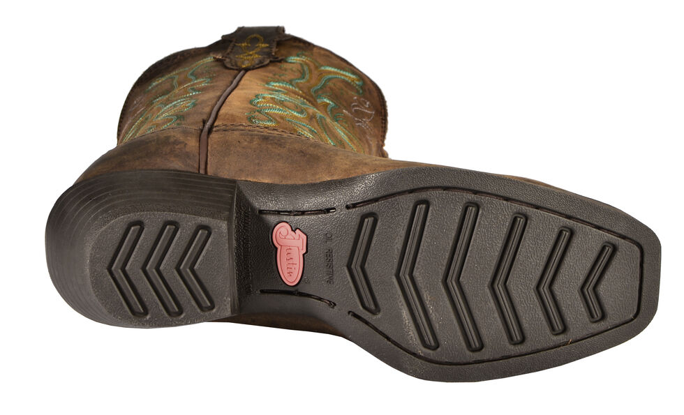 Justin Stampede Women's Durant Cowgirl Boots - Square Toe, Sorrel, hi-res