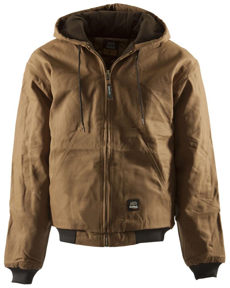 Berne Men's Duck Original Hooded Zip Front Work Jacket, Brown, hi-res