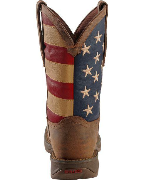 Durango Rebel American Flag Cowboy Boots - Steel Toe, Brown, hi-res