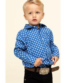 Cody James Toddler Boys' Astro Geo Print Button Long Sleeve Western Shirt , Royal Blue, hi-res