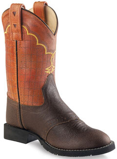 Old West Boys' Brown and Orange Western Boots - Round Toe , Brown, hi-res