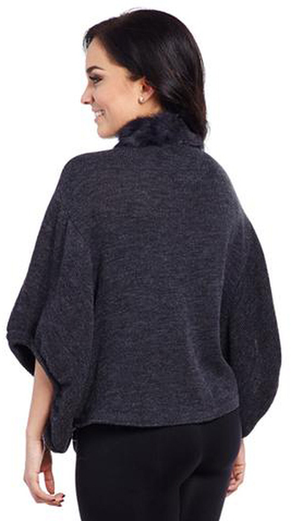 Cripple Creek Women's Charcoal Rabbit-Trimmed Sweater, Charcoal Grey, hi-res