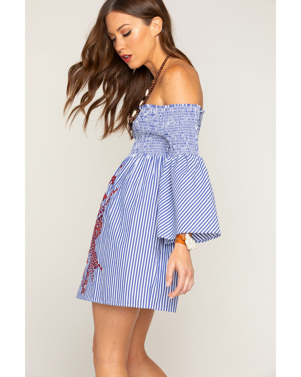 Shyanne Women's Striped and Embroidered Off The Shoulder Dress, Blue, hi-res
