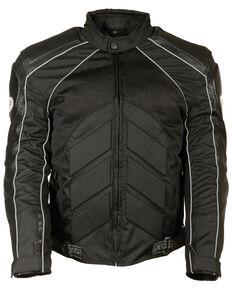 Milwaukee Leather Men's Combo Leather Textile Mesh Racer Jacket - 5X, Black, hi-res