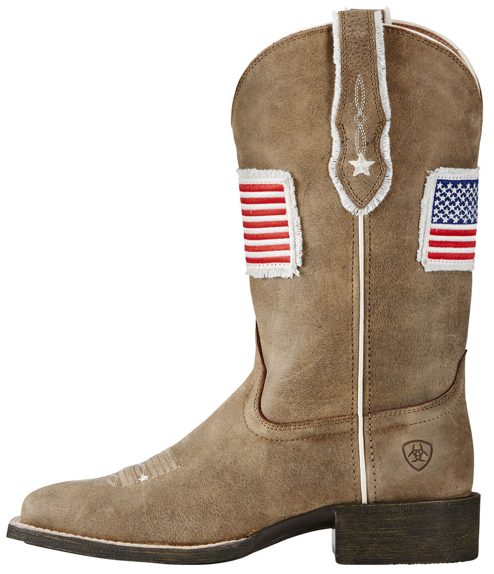 Ariat Women's Sand Patriot Flag Cowgirl Boots - Square Toe , Sand, hi-res
