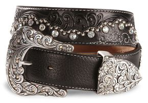 Tony Lama Kaitlyn Crystal Scalloped Leather Western Belt, Black, hi-res