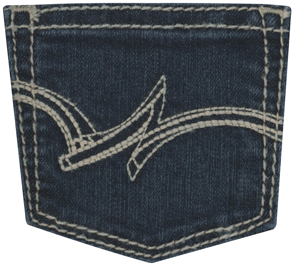 "Wrangler Girls' Indigo ""W"" Swish Embroidery Jeans - Boot Cut, Indigo, hi-res"