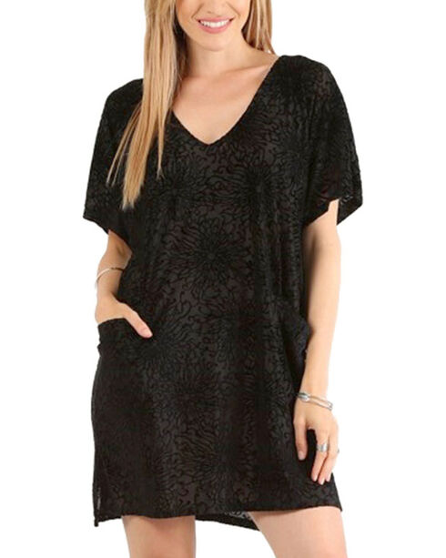 Mystree Women's Velvet Burnout Dress, Black, hi-res