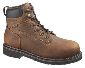 "Wolverine Brek Durashocks 6"" Waterproof Work Boots - Steel Toe, Dark Brown, hi-res"