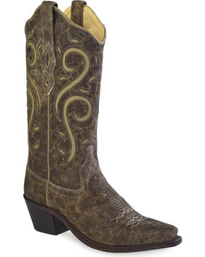 Old West Women's Distressed Scroll Western Cowgirl Boots - Snip Toe, Light Distressed, hi-res