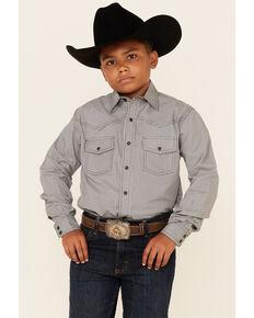 Cinch Boys' Grey Geo Print Long Sleeve Snap Western Shirt , Grey, hi-res