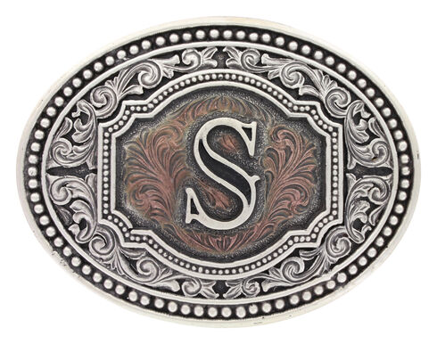 """Montana Silversmiths Men's Initial """"S"""" Two-Tone Attitude Belt Buckle, Silver, hi-res"""