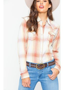 Wrangler Women's Rose Copper Plaid Shirt , Rust Copper, hi-res