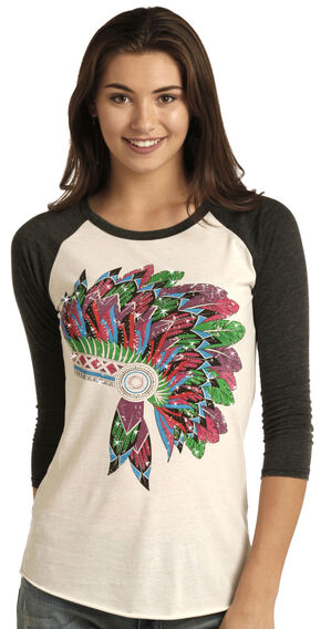Rock & Roll Cowgirl Women's Multi Indian Head Dress Print Shirt, Charcoal Grey, hi-res