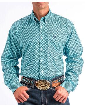 Cinch Men's Teal Geo Print Long Sleeve Shirt, White, hi-res