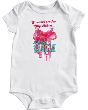 Shyanne Infant Girls' Saddle Onesie, White, hi-res