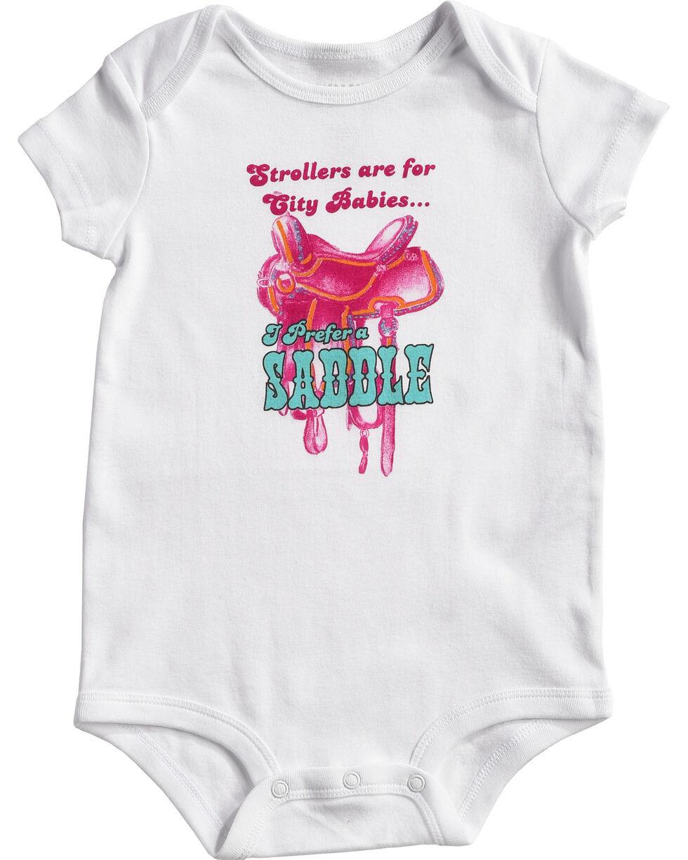 Shyanne Infant Girls' Saddle Onesie, White, hi-res