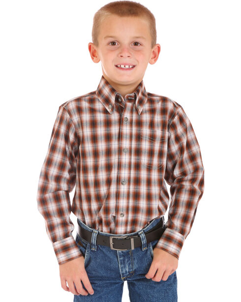 Wrangler Boys' Assorted Plaid Long Sleeve Shirt , Multi, hi-res