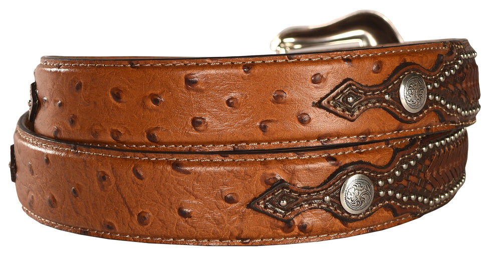 Nocona Ostrich Print Basketweave Billets Leather Belt, Tan, hi-res