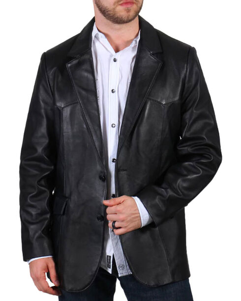 Cody James Men's Lambskin Leather Blazer , Black, hi-res