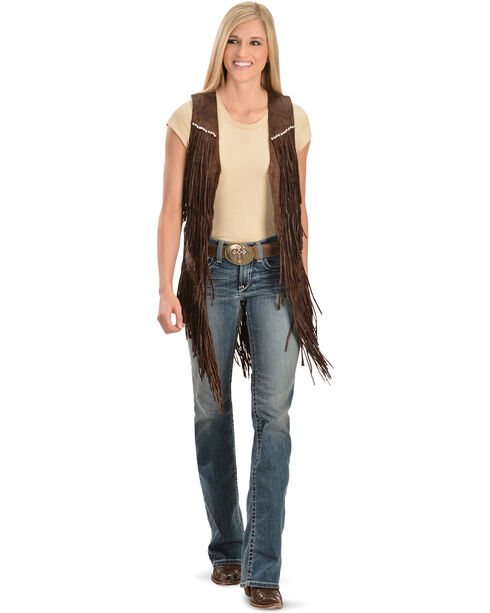Kobler Leather Women's Yucaipa Fringe & Rhinestone Leather Vest, Brown, hi-res