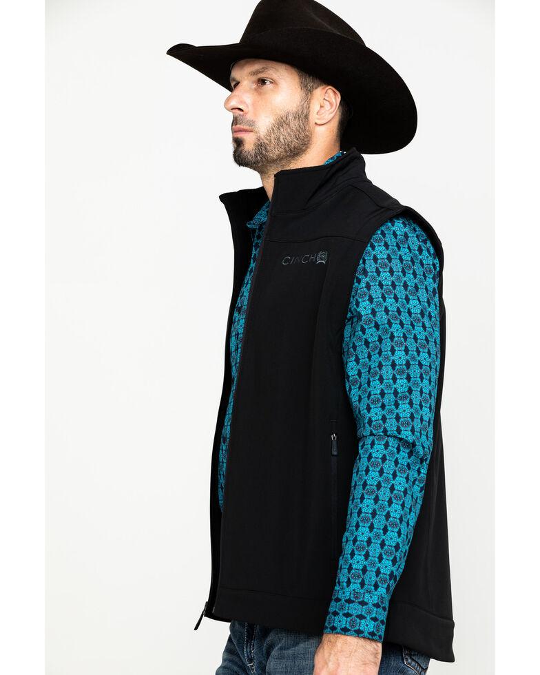 Cinch Men's Solid Black Bonded Softshell Zip Vest, Black, hi-res
