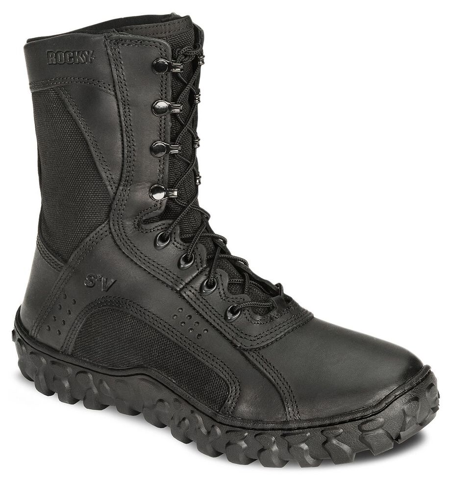 """Rocky S2V Vented 8"""" Lace-Up Military Boots - Round Toe, Black, hi-res"""