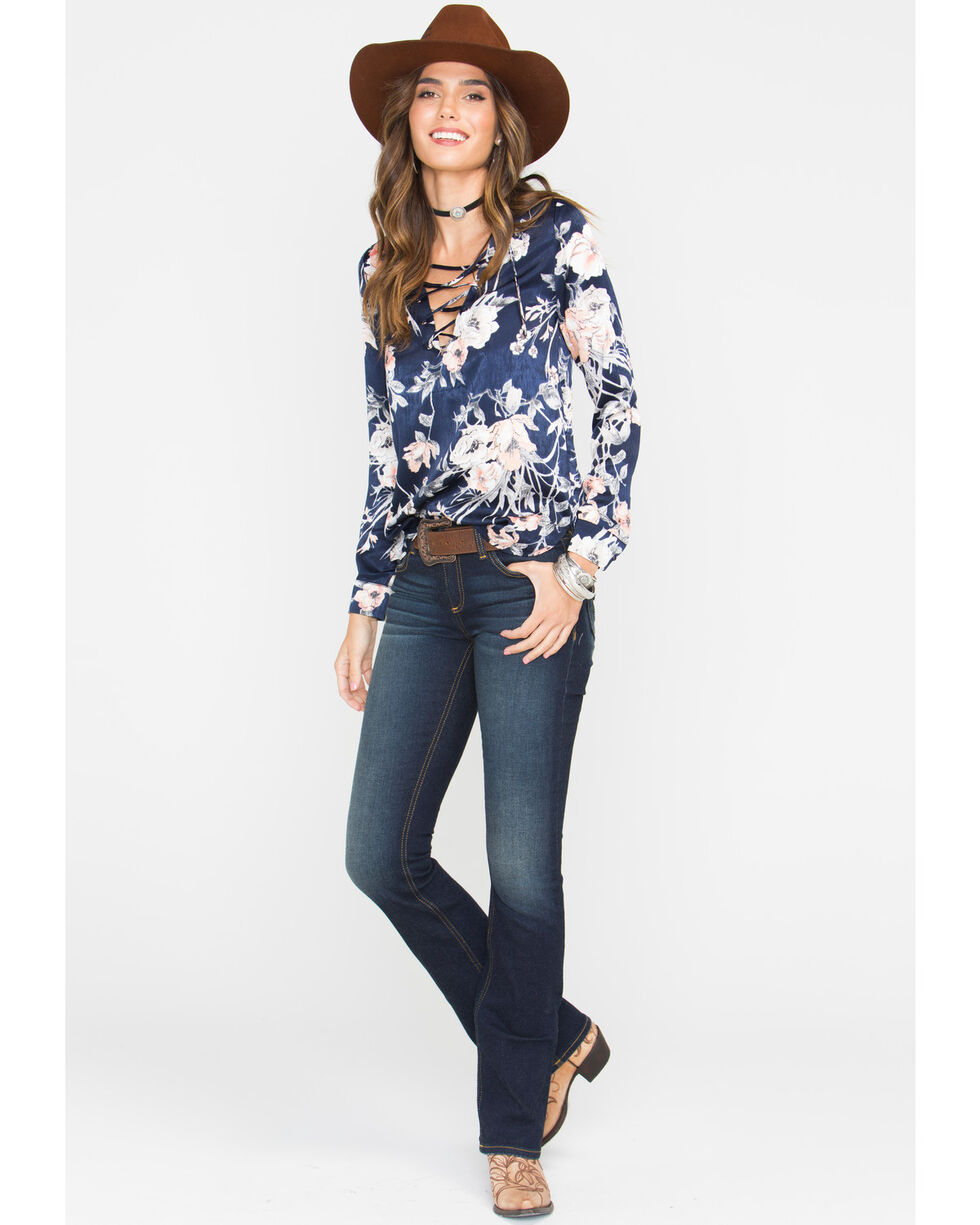 Sage The Label Women's Sweet Thing Lace Up Blouse , Navy, hi-res