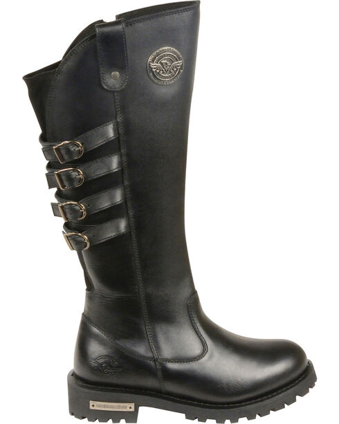 "Milwaukee Leather Women's 15"" High Rise Leather Riding Boots - Round Toe, Black, hi-res"