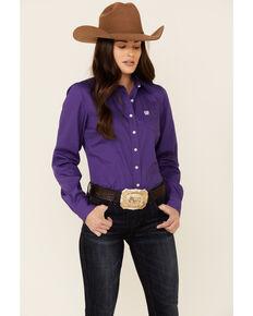 Cinch Women's Solid Purple Long Sleeve Button-Down Western Core Shirt , Purple, hi-res