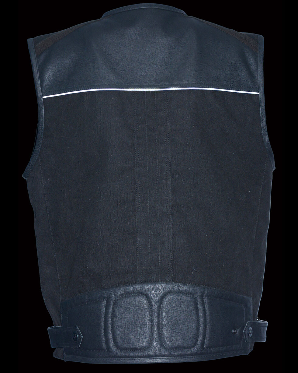 Milwaukee Leather Men's Leather & Canvas Zipper Front Super Utility Multi Pocket Vest, Black, hi-res
