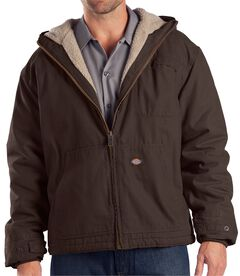 Dickies Sanded Duck Sherpa Lined Jacket - Big & Tall, Brown, hi-res