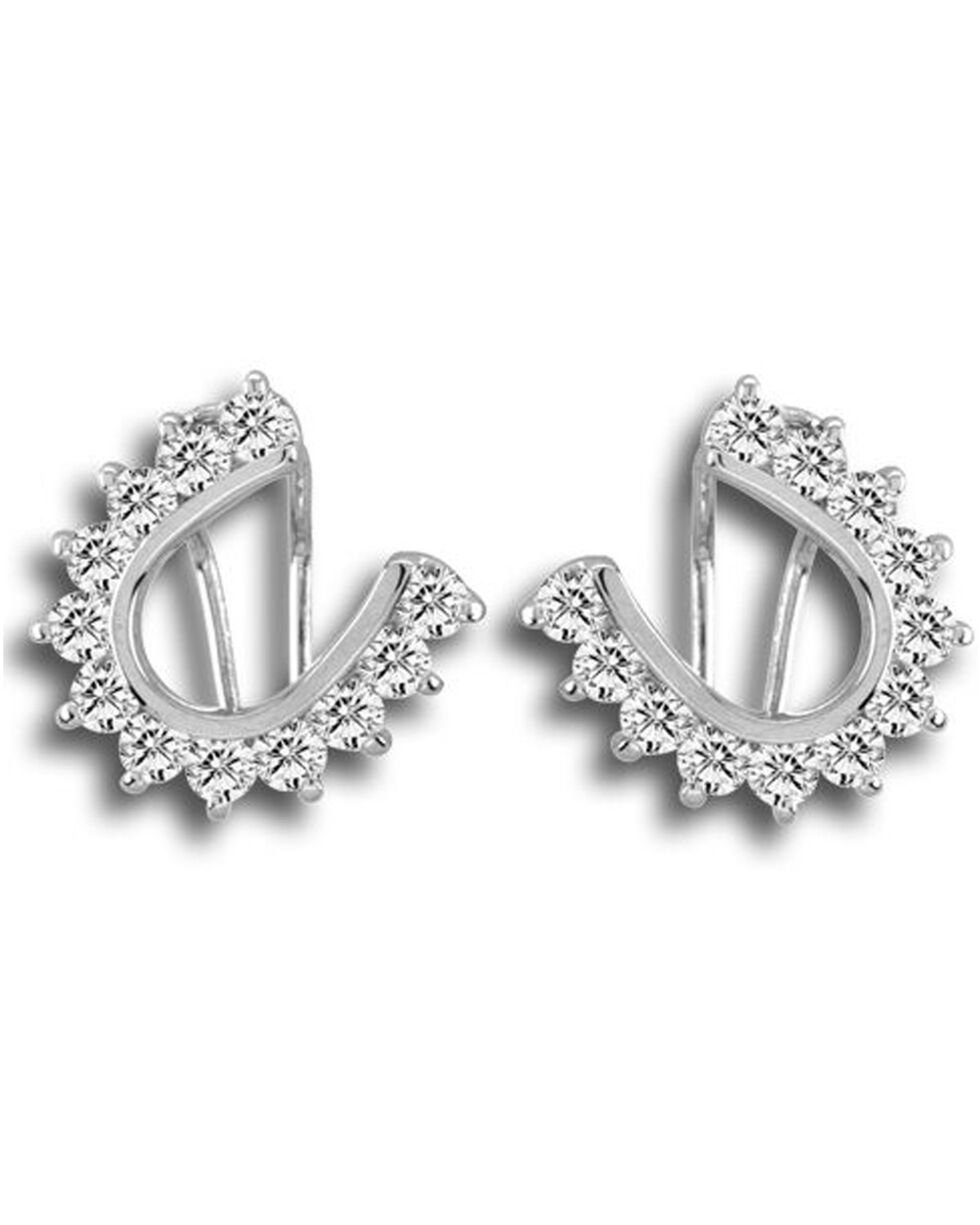 Kelly Herd Women's Silver Scalloped Horseshoe Earrings , Silver, hi-res