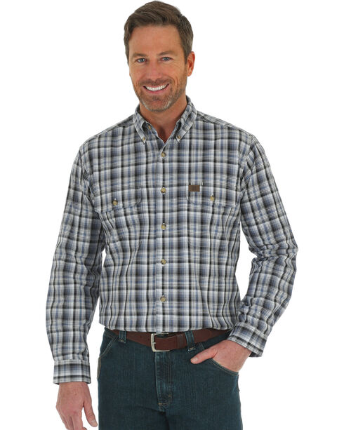Wrangler Men's Grey Riggs Foreman Work Shirt - Tall , Grey, hi-res