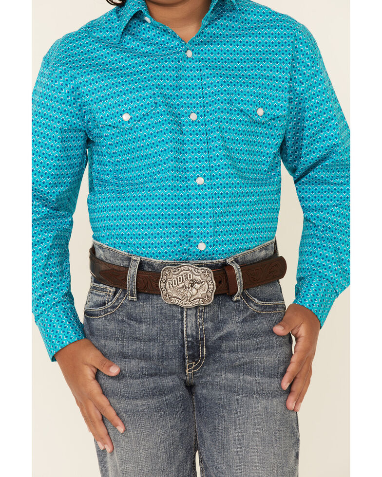 Rough Stock By Panhandle Boys' Turquoise Geo Print Long Sleeve Western Shirt , Turquoise, hi-res