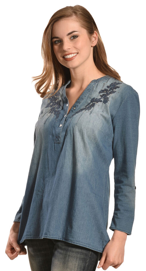 Tantrums Women's Denim Embroidered Top, Indigo, hi-res