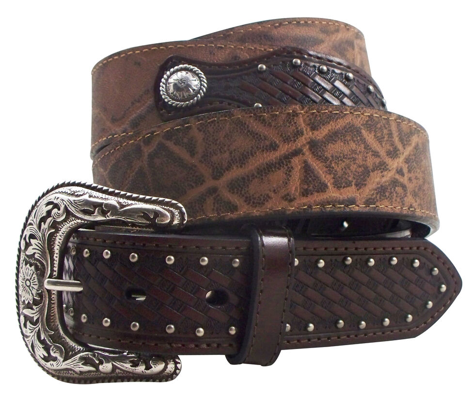 Roper Men's Elephant Print Basketweave Leather Concho Belt, Brown, hi-res
