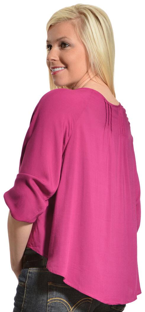 Ariat Women's Cora Cropped Blouse, Fuchsia, hi-res