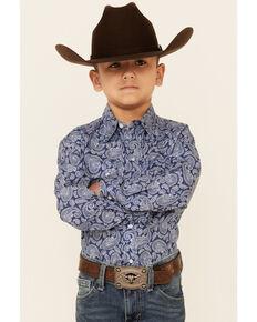 Roper Boys' Night Paisley Print Long Sleeve Snap Western Shirt , Blue, hi-res