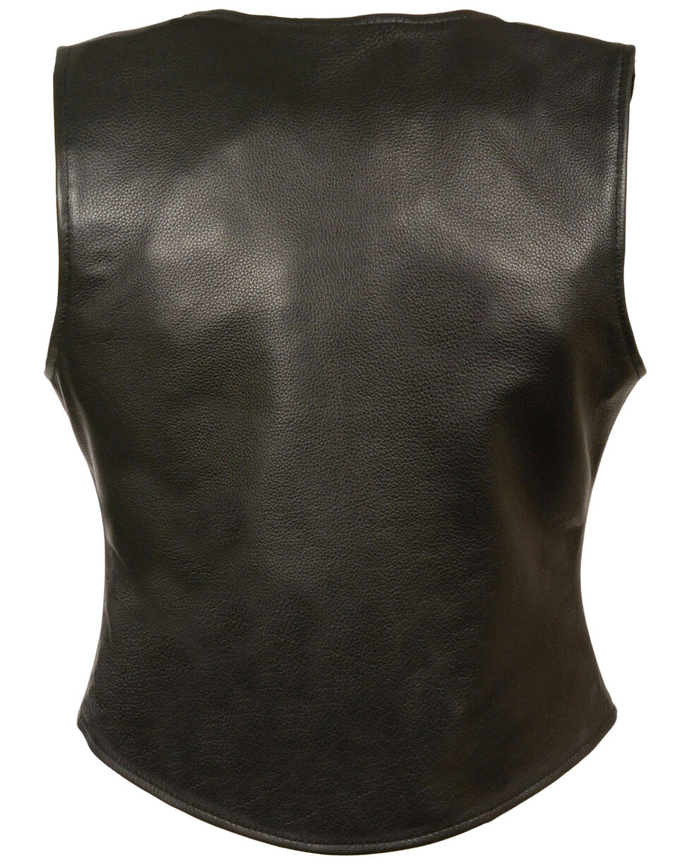 Milwaukee Leather Women's Snap Front Long Body Vest - 5X, Black, hi-res
