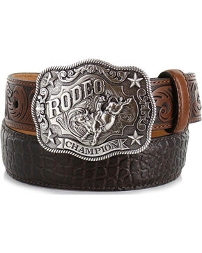Cody James® Kid's Gator Print Belt, Brown, hi-res