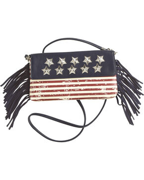 Shyanne Women's American Flag Crossbody Bag , Blue, hi-res